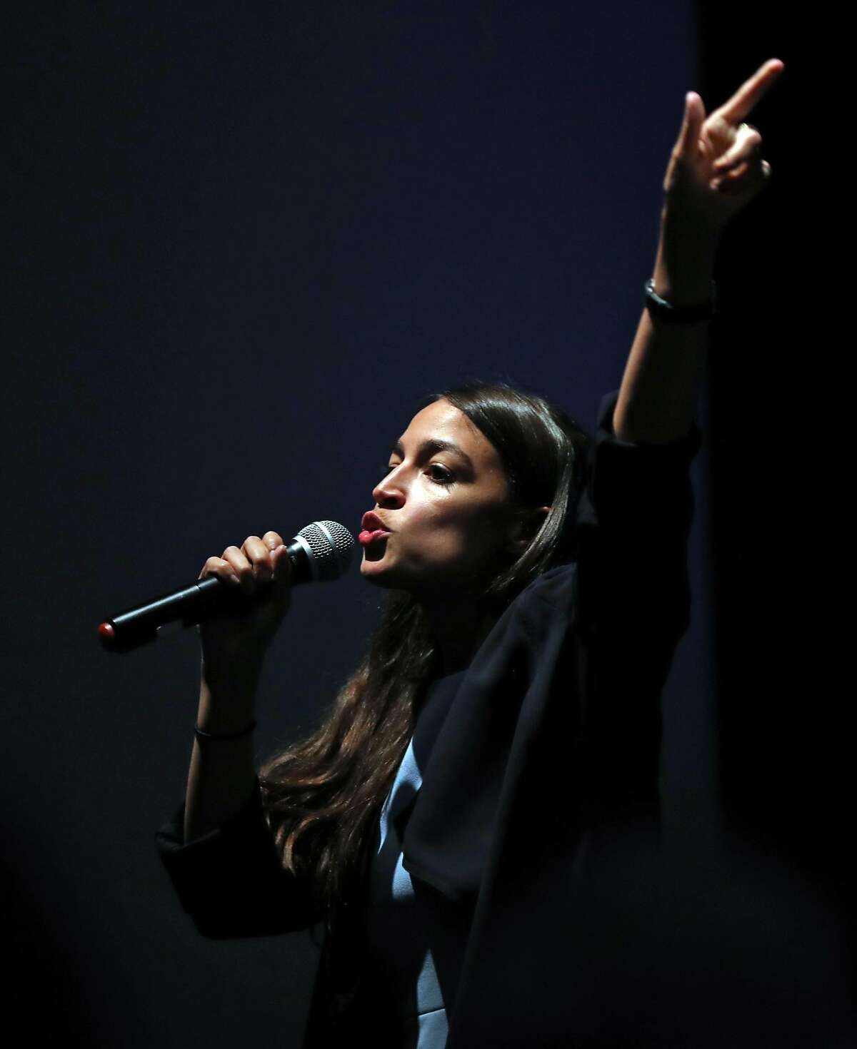 Alexandria Ocasio Cortez speaks to crowd at San Francisco Progressive Alliance event at Gray Area Grand Theater in San Francisco, Calif. on Tuesday, July 31, 2018.