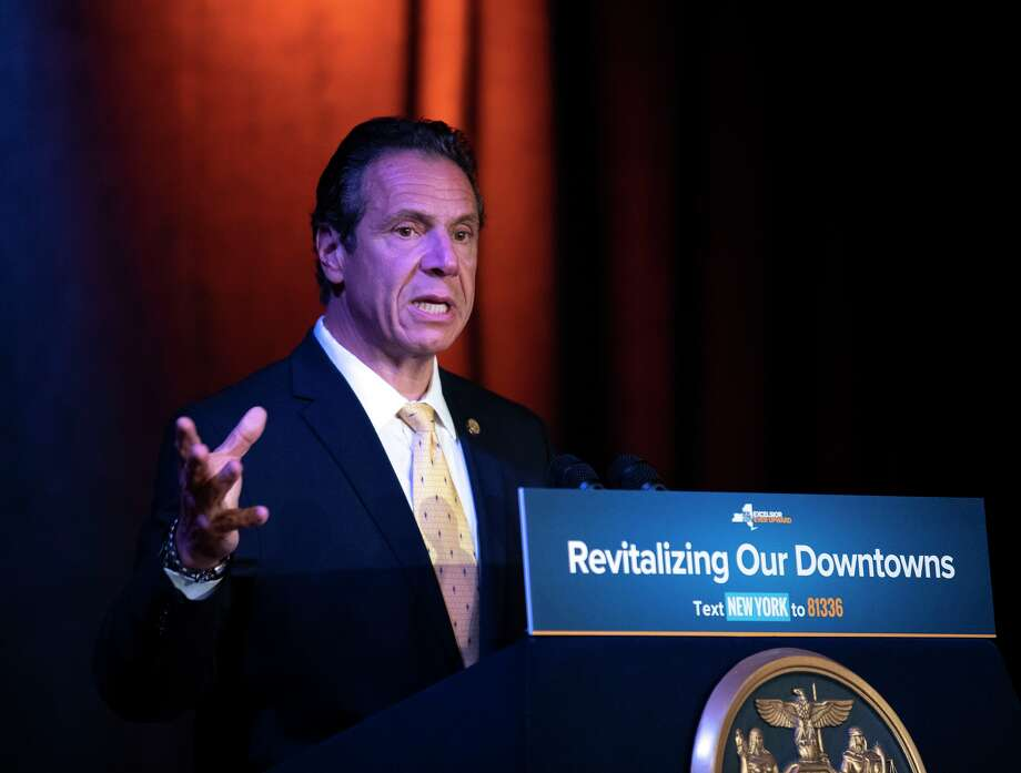 Gov. Andrew Cuomo during a press conference Friday, July 27, 2018 in Auburn. After the event, Cuomo blasted Charter and praised the decision by the PSC to revoke its license to operate its Spectrum network in the state. Photo: By Larry Rulison