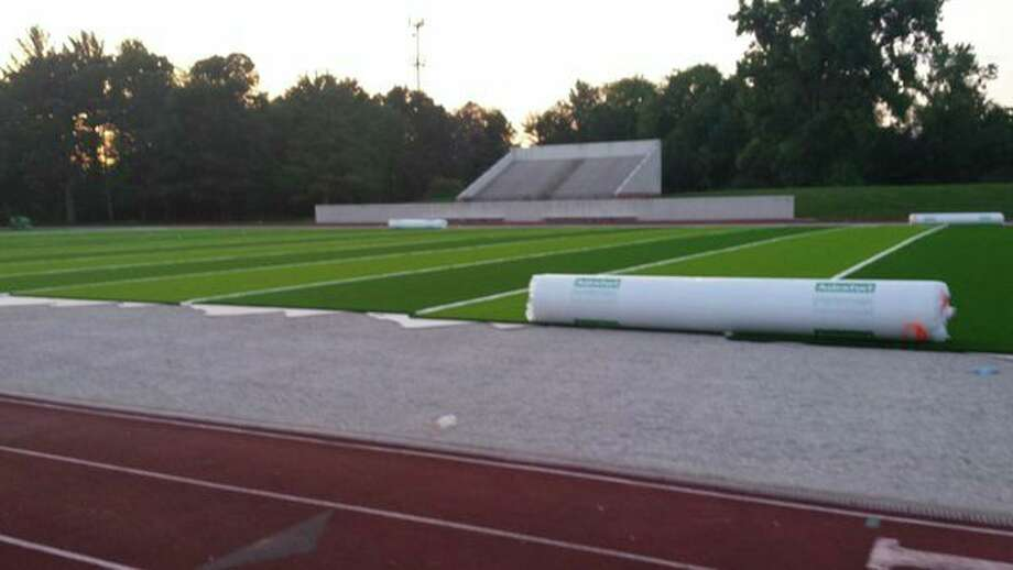 A look at the new artificial turf playing surface at Northwood's Hantz Stadium. (Fred Kelly/fred.kelly@mdn.net)