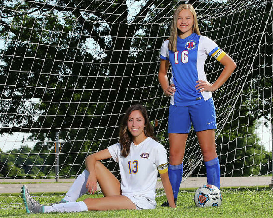 Civic Memorial's Morgan Wilson, left, and Roxana's Emma Lucas scored a combined 79 goals and added a combined 28 assists in 2018 and are The Telegraph's Small-Schools Girls Soccer Players of the Year. Wilson is headed to McKendree University and Lucas to Lewis and Clark Community College. Photo:       Billy Hurst | For The Telegraph