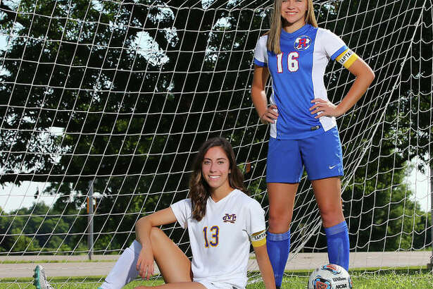 Civic Memorial's Morgan Wilson, left, and Roxana's Emma Lucas scored a combined 79 goals and added a combined 28 assists in 2018 and are The Telegraph's Small-Schools Girls Soccer Players of the Year. Wilson is headed to McKendree University and Lucas to Lewis and Clark Community College.