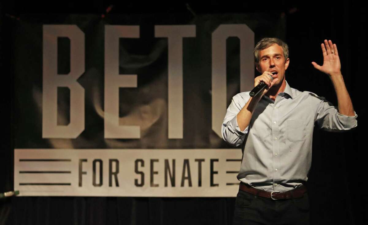 U.S. Senate candidate Beto O'Rourke talks to a crowd at a town hall July 31, 2018, in Lubbock, Texas. O'Rourke continues to keep pressure on GOP incumbent Ted Cruz.