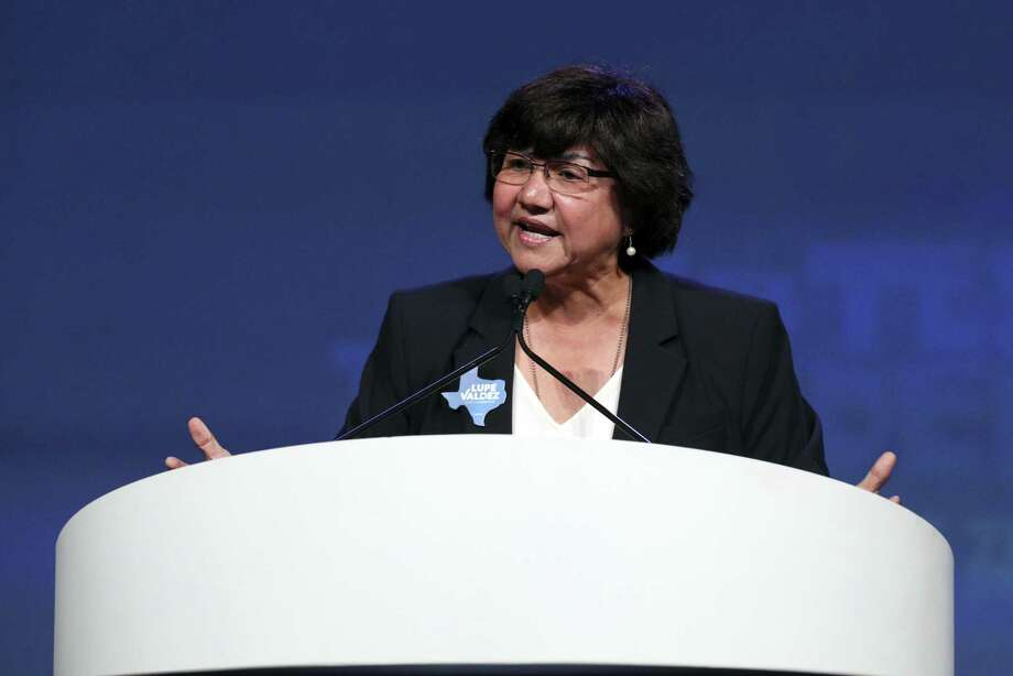 Texas gubernatorial candidate Lupe Valdez speaks at the Texas Democratic Convention Friday, June 22, 2018, in Fort Worth, Texas. An investigation into what happened to the Beretta 9 mm pistol that was issued to Valdez when she was Dallas County sheriff is ongoing, said a sheriff's spokesman. Photo: Richard W. Rodriguez, FRE / Associated Press / FR170526 AP