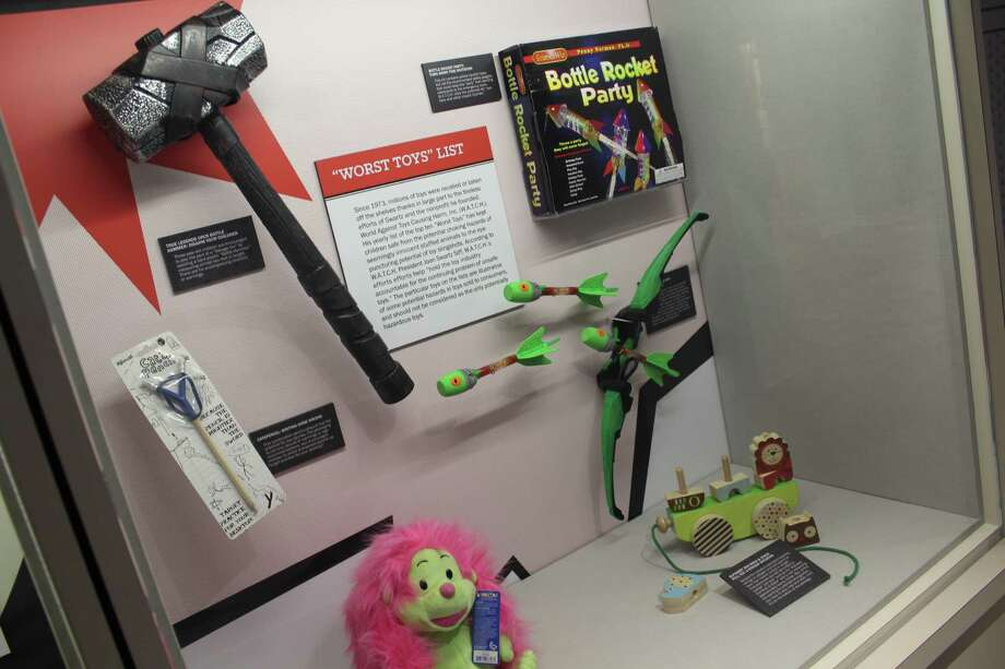 A display of some of the most dangerous toys in American history at the American Museum of Tort Law in Winsted, Connecticut. Photo: Pat Tomlinson / Hearst Connecticut Media