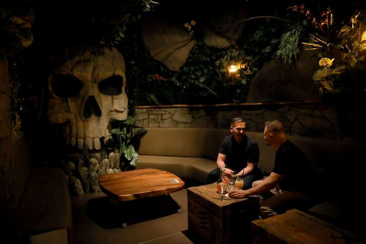 A gigantic skull is erected in the back of Last Rites, a new tiki bar in the Duboce/Castro neighborhood, located at 718 14th St., in San Francisco, Cali. on Tuesday, July 31, 2018.
