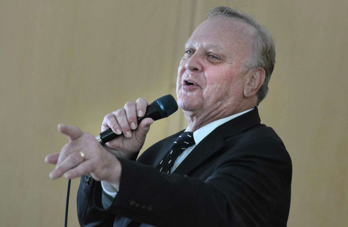 Steve Kazlauskas sings the music of Frank Sinatra during his Echoes of Sinatra performance at the Wilton Library Summer Music and More Concert Series on Sunday July 29, 2018 in Wilton Conn.