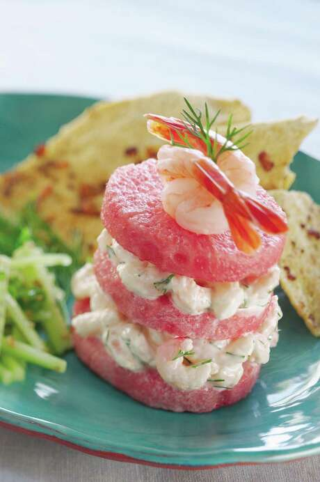 Shrimp and watermelon pair nicely in these Napoleons. Photo: Watermelon.org