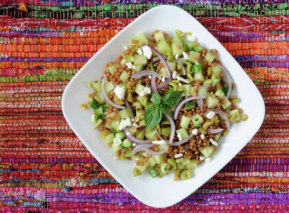 Wheat Berry Salad with Honeydew, Cucumbers and Feta Cheese Photo: Paul Stephen /Staff