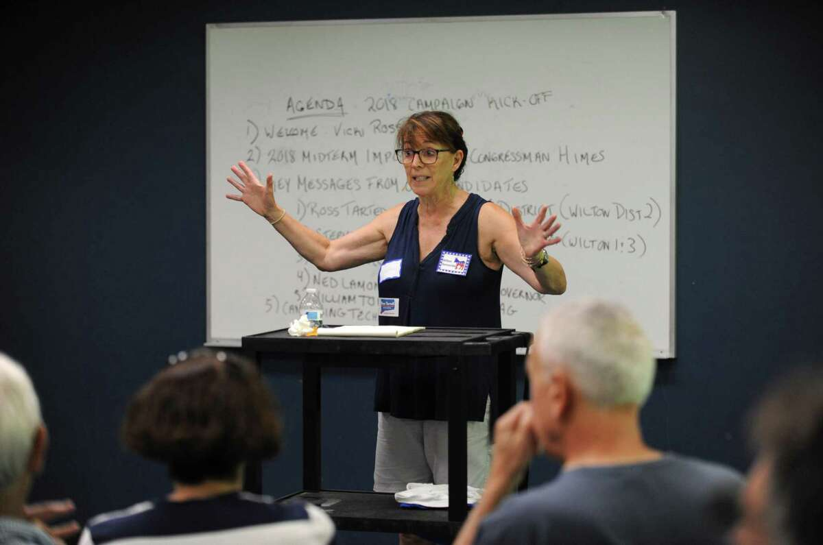 Wilton DTC co-chair Vicki Rossi welcomes guests as The Wilton Democratic Town Committee kicks off its campaign season Saturday, July 28, 2018, at Comstock Community Center in Wilton, Conn. Local Democratic candidates and volunteers also learned about canvassing techniques to get out the vote for the August primary races.