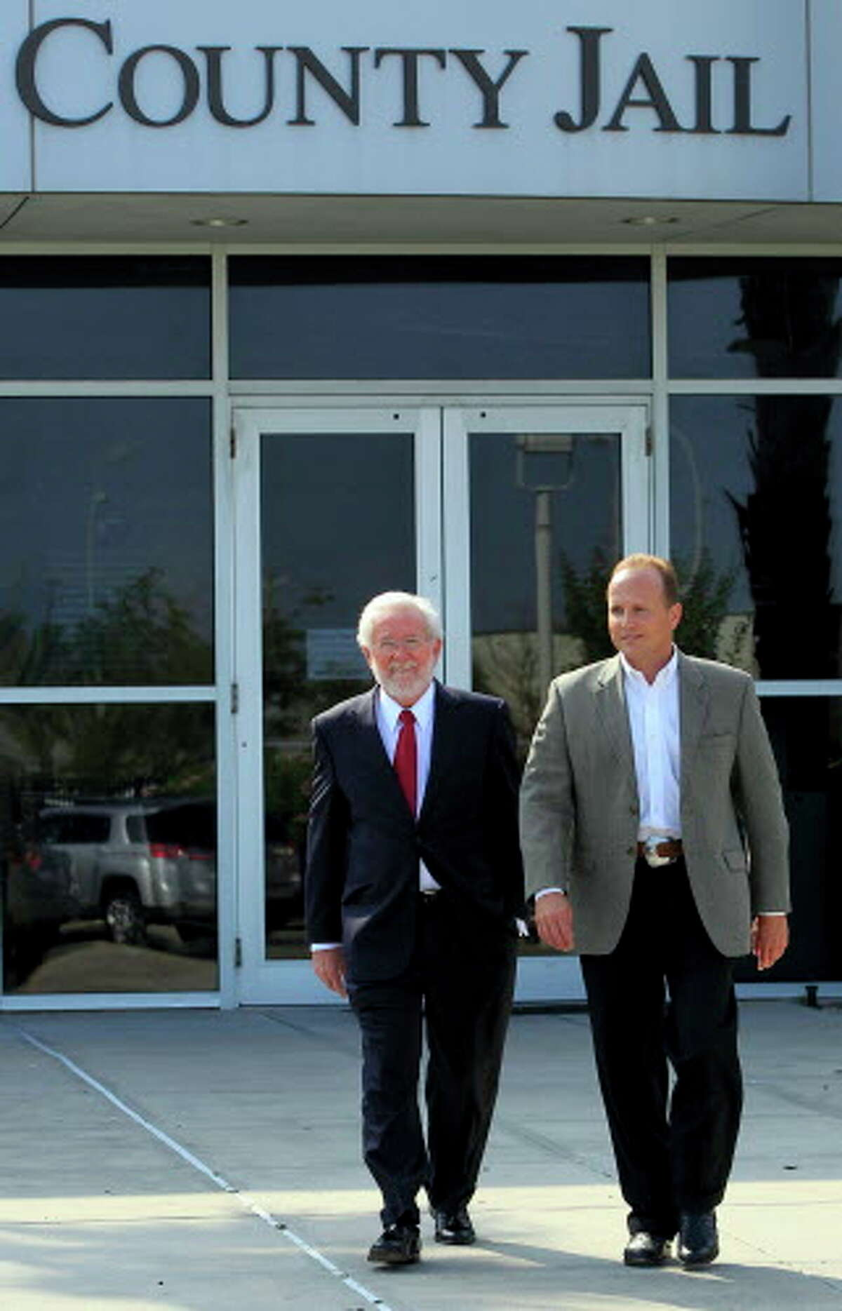 Judge Christopher Dupuy, right, leaves the Galveston County Jail with his attorney George Parnham after he was arrested and charged in 2013. >>Learn more about the crimes that shocked Texas in 2018 in the photos that follow...