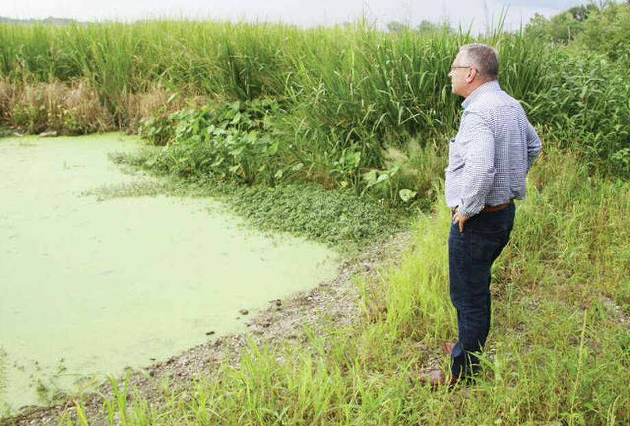 U.S. Rep. Mike Bost, R-Murphysboro, looks over the boat launching area of Horseshoe Lake during a tour of the Metro East Sanitary District Tuesday. MESD officials were talking to Bost about the need for dredging in Horseshoe Lake and Long Lake. It was noted that this should be open water, but because of siltation it is now overgrown.