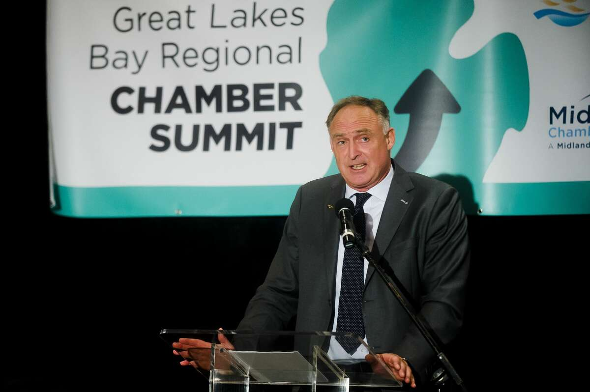 Dow Chemical Company Vice President of Operations, Canada and USA North Reiner Roghmann delivers a keynote address during the Great Lakes Bay Regional Chamber Summit on Wednesday, Aug. 1, 2018 at Great Hall Banquet & Convention Center. (Katy Kildee/kkildee@mdn.net)