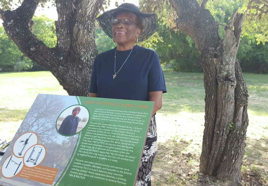 Mary Whitfield Burks attends the unveiling of the plaque at the park on Schertz Parkway that bears her name. Photo: Jeff B. Flinn / Staff