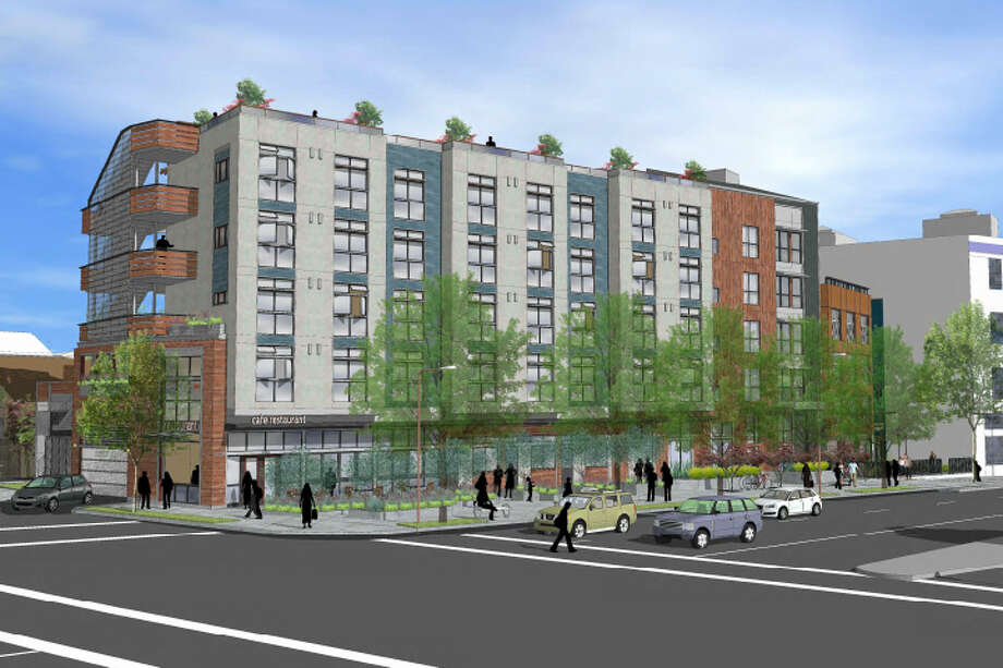 A rendering of a proposed five-story, 57-unit building at 2701 Shattuck Ave., Berkeley. Photo: HDO Architects