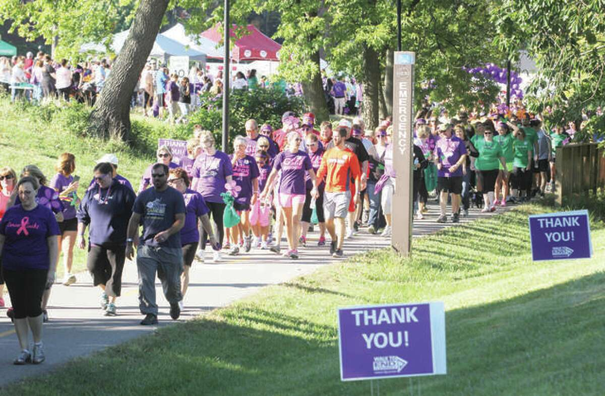A long line of participants heads out at the start of the 2015 Walk to End Alzheimer's at Southern Illinois Univeristy Edwardsville. This year's walk will take place Sept. 22.