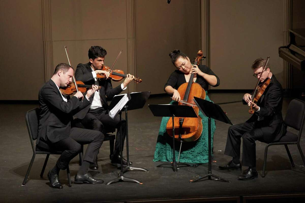 The Calidore String Quartet: violinists Jeffrey Myers (left) and Ryan Meehan, cellist Estelle Choi and violist Jeremy Berry.