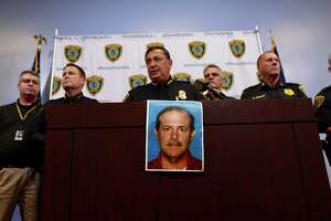 Houston Police Department chief Art Acevedo releases a photo of Joseph James Pappas, the suspect in the murder of Dr. Mark Hausknecht, during a press conference at HPD headquarters Wednesday, Aug. 1, 2018, in Houston.