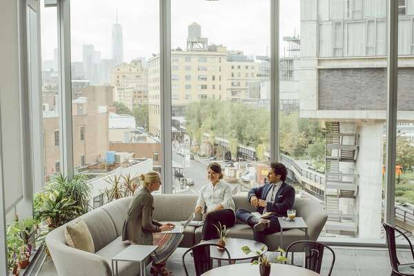 A wellness cafe at the new headquarters of Delos, which created the Well Building Standard certification program, in Manhattan, July 24, 2018. From standing desks and an organic foods cafe to triple-filtered air and plants galore, Delos� new headquarters is a showcase for the trend of commercial real estate designed with wellness in mind. (Cole Wilson/The New York Times