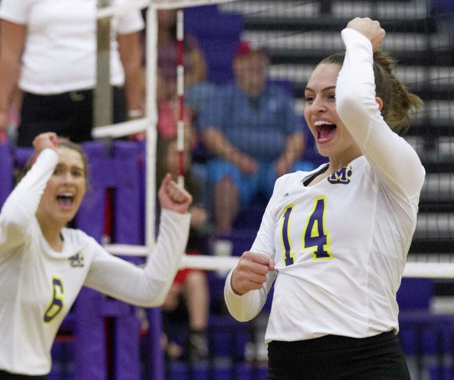 FILE PHOTO — Montgomery middle blocker Jesse Miller (14) celebrates a point during the first set of a District 12-6A high school volleyball match at Montgomery High School, Tuesday, Oct. 17, 2017, in Montgomery. Photo: Jason Fochtman, Staff Photographer / Houston Chronicle / © 2017 Houston Chronicle
