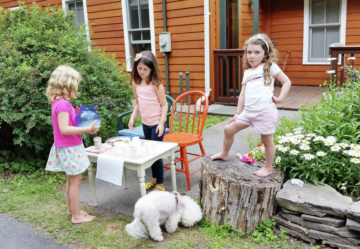 Sisters Genevieve and Naomi Currie with their cousin Moira Logan at their lemonade stand in Haines Falls, N.Y.