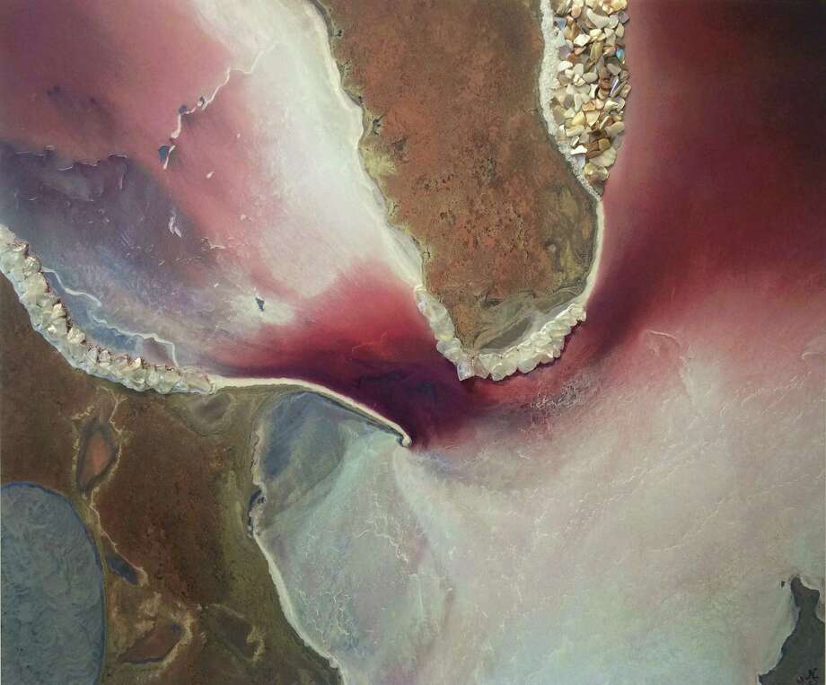 "Nicole Stott's ""Pink Flower,"" inspired by her photo of Lake Eyre, Australia, from the International Space Station. (Image courtesy Nicole Stott)"