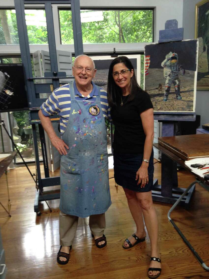 Artist and astronaut Nicole Stott posing with her friend and mentor, the late artist and astronaut Alan Bean.(Image courtesy Nicole Stott)