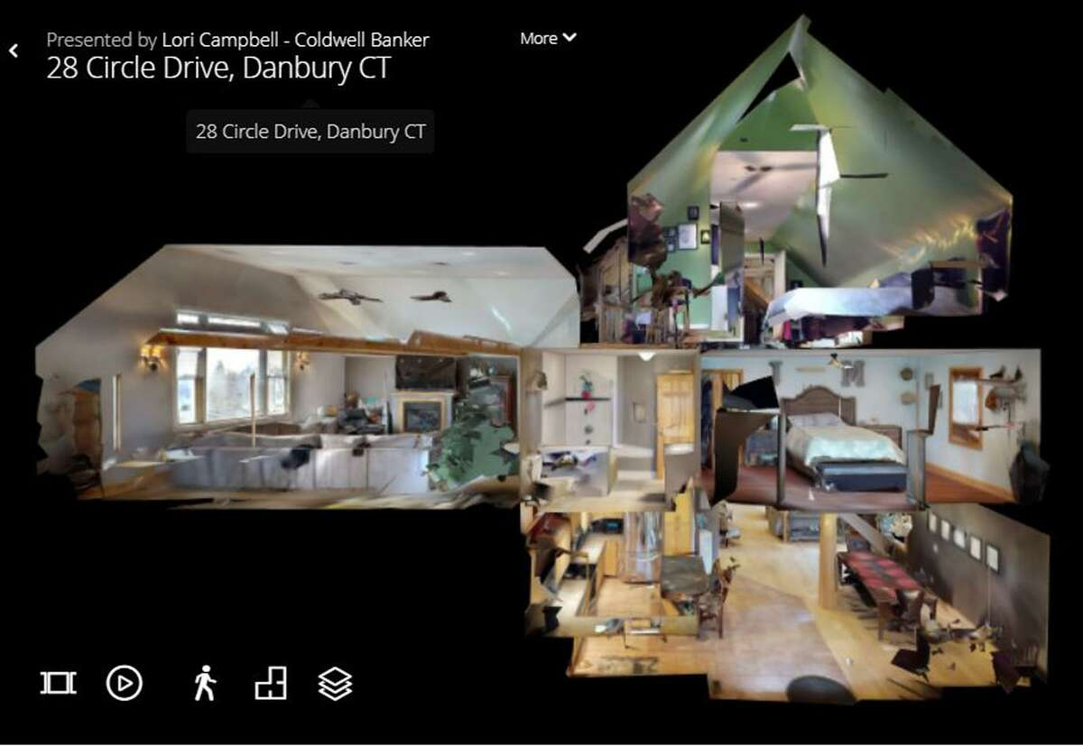 A screen shot of a doll house view from a 3D virtual tour of a home in Danbury, Conn., created by Brookfield Photographer.