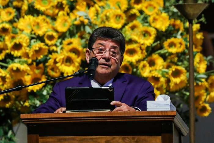 Former 49ers owner Eddie DeBartolo speaks at Dwight Clark's celebration of life service at Grace Cathedral in San Francisco, California, on Wednesday, August 1, 2018