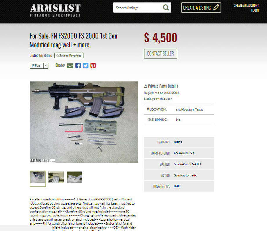 A seller using the same phone number as the man accused of killing a Houston doctor listed online a number of guns and tactical vests days after the slaying. Photo: Armslist.com