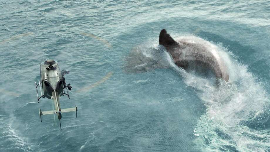 """A shark the size of an eight-story building pursues its prey in the predictable """"The Meg."""" Photo: Warner Bros. Photos"""