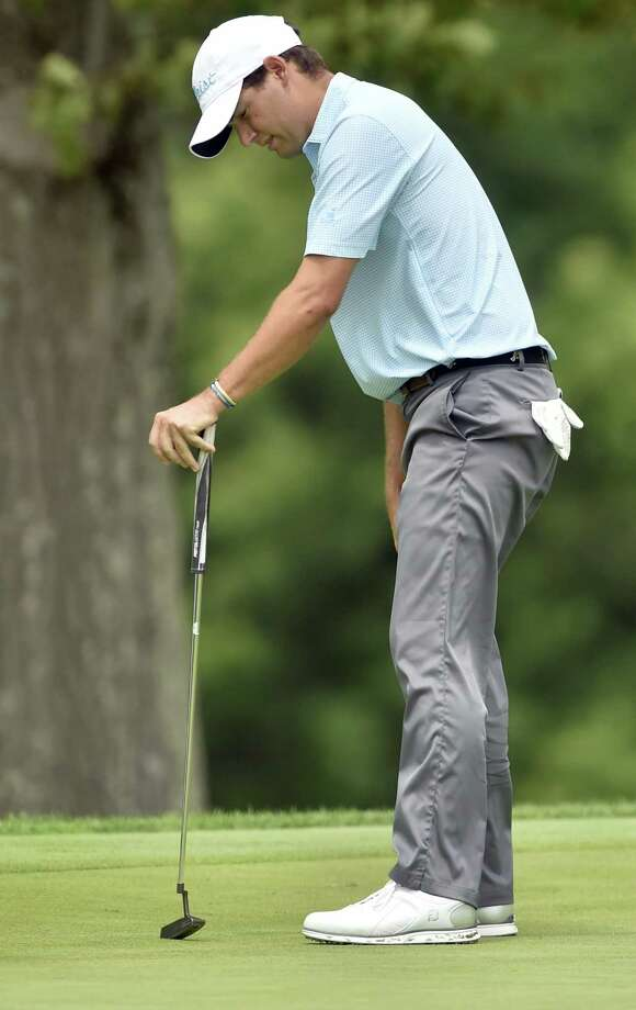New Canaan's J.C. Swift of reacts to a missed putt on the 15th hole during the final round of the Connecticut Open Wednesday at the New Haven Country Club in Hamden. Swift finished second behind John VanDerLaan of Southbury. Photo: Peter Hvizdak / Hearst Connecticut Media / New Haven Register