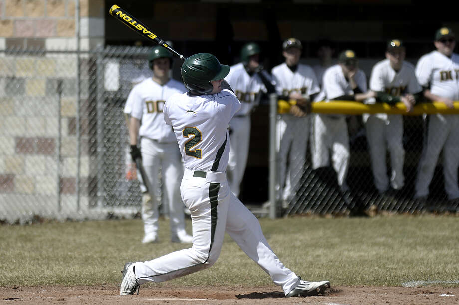 Connor Smith gets a hit for Dow High in this 2015 Daily News file photo. Photo: Daily News File Photo
