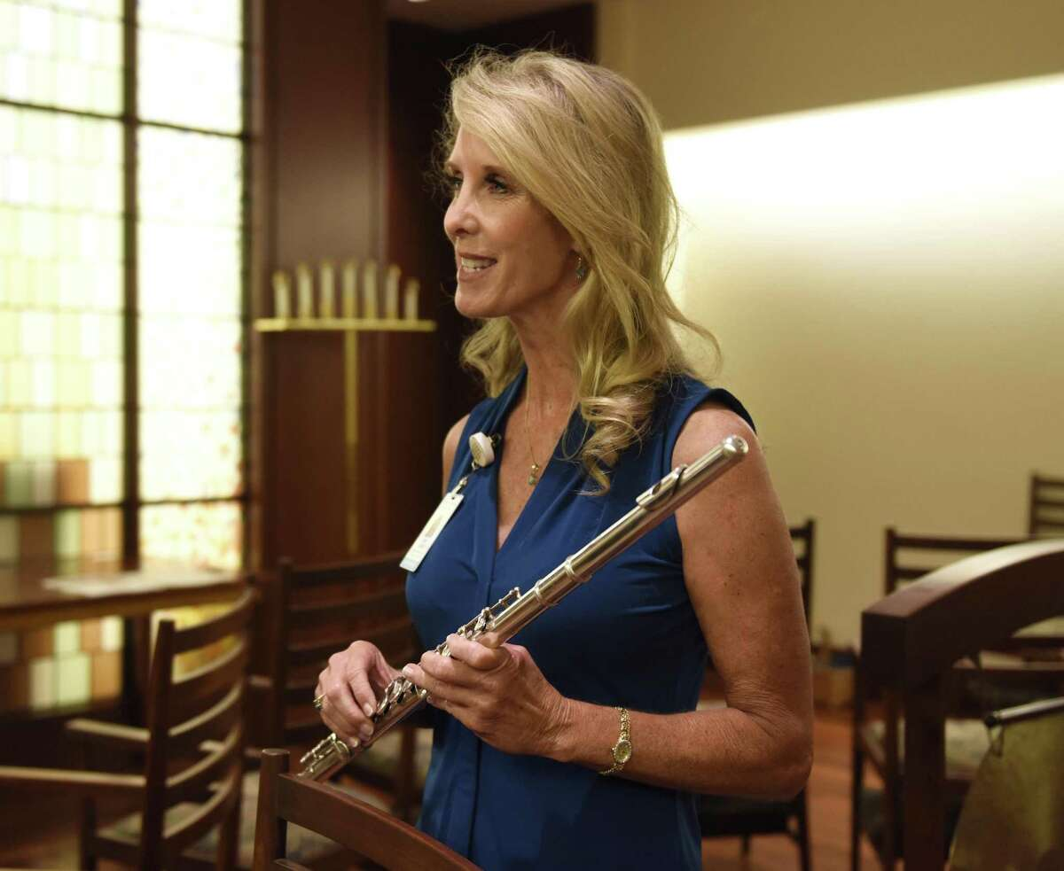 Music therapist Dr. Amy Zabinchats about the positive effects of music therapy at Greenwich Hospital in Greenwich, Conn. Wednesday, August 1, 2018.