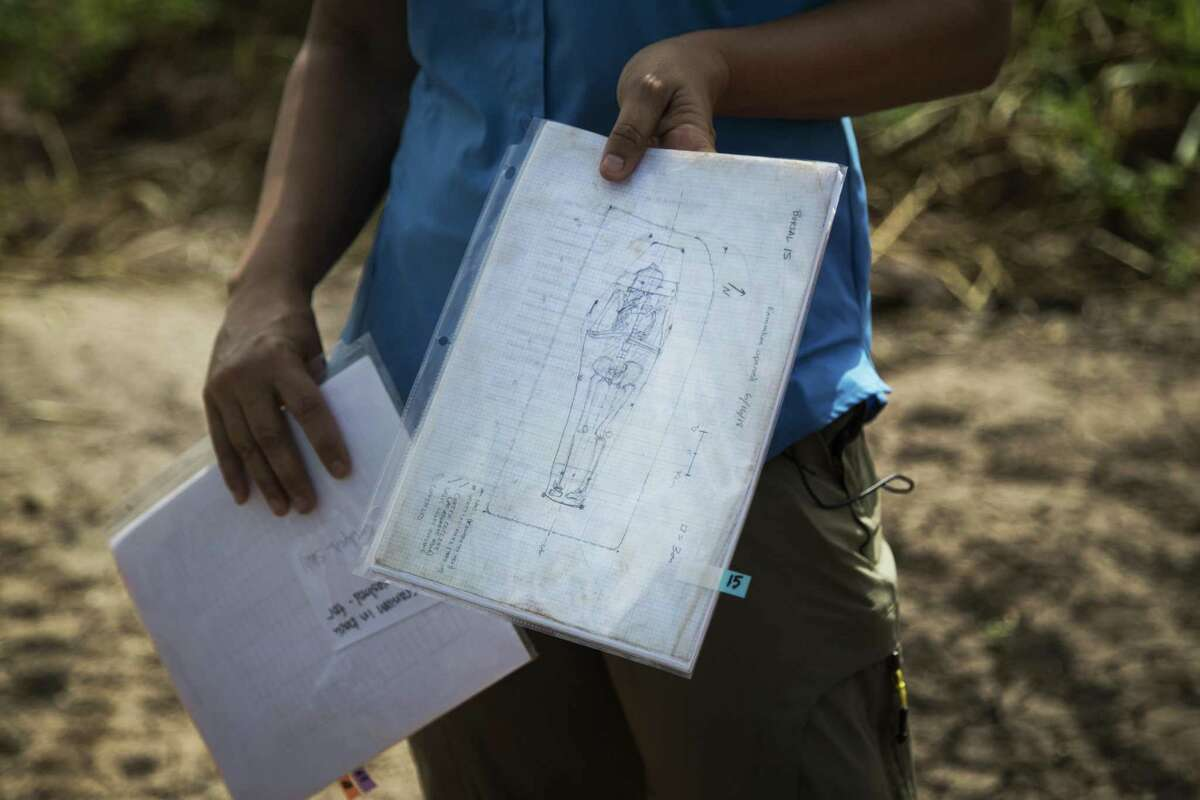 A drawing depicts one of the burials discovered at the site of the James Reese Career and Technical Center in Sugar Land. Monday, July 16, 2018, in Sugar Land .