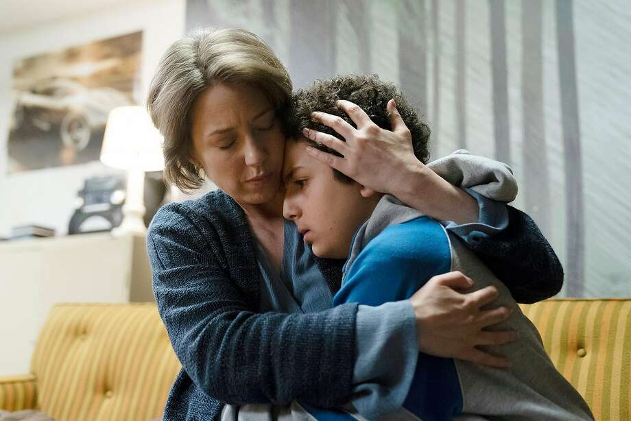 "Carrie Coon plays cult leader Vera Walker and Elisha Henig is the troubled Julian Walker in the new season of ""The Sinner."" Photo: Peter Kramer / USA Network"