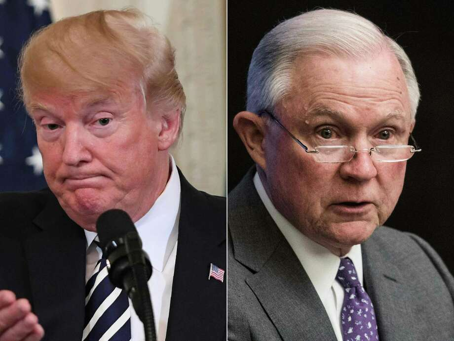 """(COMBO) This combination of pictures created on August 1, 2018 shows US President Donald Trump(L)during a joint press conference in the East Room of the White House in Washington, DC, July 30, 2018, and US Attorney General Jeff Sessions addressing the National Sheriffs' Association opioid roundtable in Washington, DC, on May 3, 2018.  US President Donald Trump called August1, 2018 on Attorney General Jeff Sessions to end the investigation into Russia's interference in the 2016 US elections, calling it """"a disgrace to USA."""" The president's latest tweet on the probe led by special counsel Robert Mueller came on the second day of a trial of former Trump campaign chairman Paul Manafort on unrelated bank and tax fraud charges.""""This is a terrible situation and Attorney General Jeff Sessions should stop this Rigged Witch Hunt right now, before it continues to stain our country any further,"""" Trump said, calling Mueller's probe """"a disgrace to USA.""""  / AFP PHOTO / SAUL LOEB AND NICHOLAS KAMMSAUL LOEB,NICHOLAS KAMM/AFP/Getty Images Photo: SAUL LOEB / AFP"""