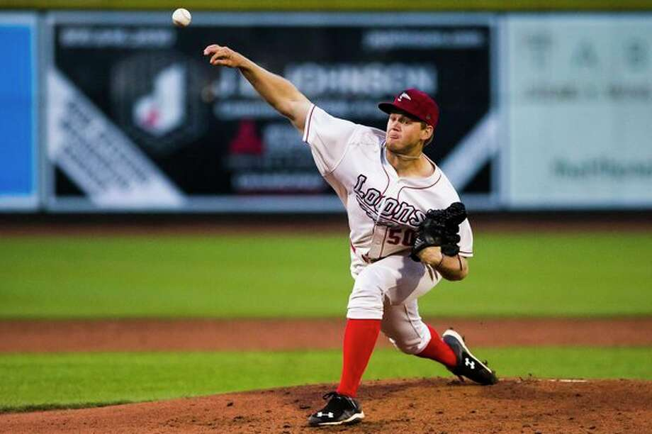 Loons pitcher Stephen Kolek pitches the ball during a game against the West Michigan Whitecaps on Wednesday at Dow Diamond. (Katy Kildee/kkildee@mdn.net)
