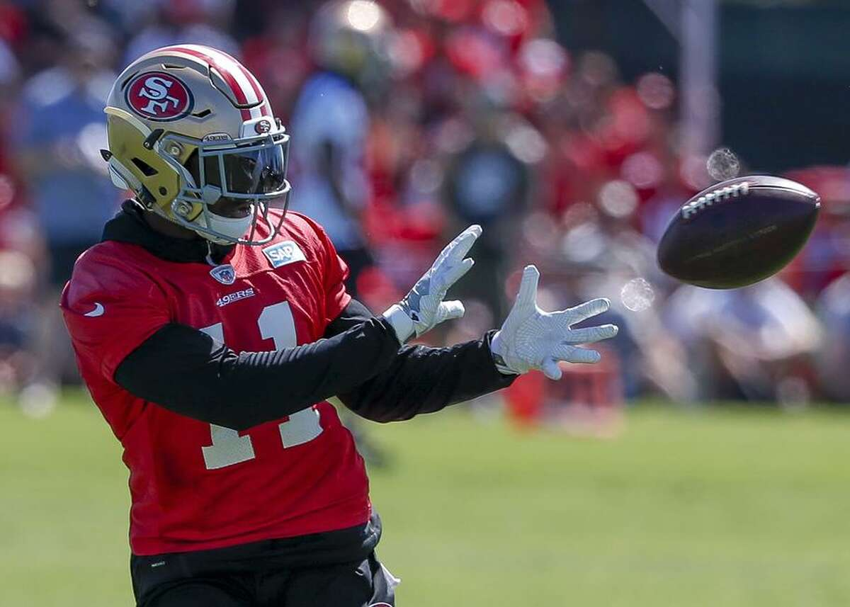 Marquise Goodwin catches a pass practice Friday. He took over as No. 1 receiver after an injury to Pierre Garcon last season and is showing he may remain in that role this year.