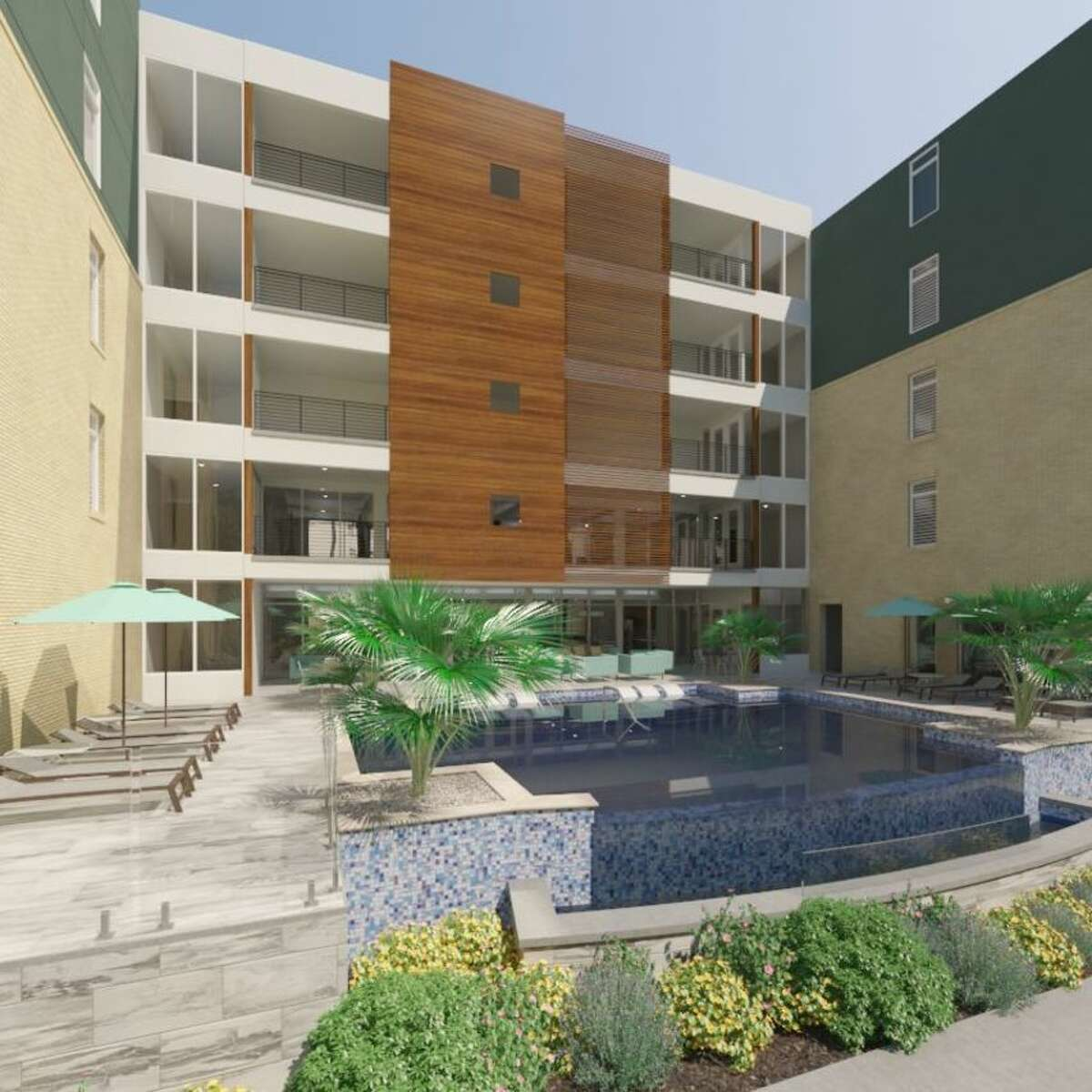 Developer S.C. Bodner is opening 220 new apartment units in a five-story complex at the Riverwalk. The apartments, at 120 9th Street in San Antonio, will be available for rent beginning in October. (Courtesy of S.C. Bodner)