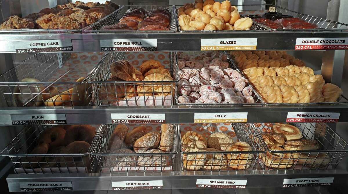 A selection of doughnuts, bagels and other items on display at the first
