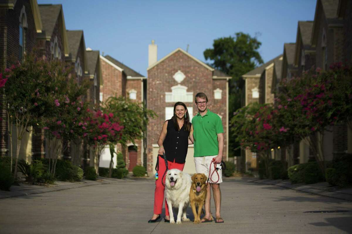 Laura Palmer and her fiancé Alex Mackay purchased a home before tying the knot believing it was a smarter financial decision than renting until the wedding. The medical residents picked a home that could allow them easy access to the Texas Medical Center and with enough space to be able have large pets. ( Marie D. De Jesús / Houston Chronicle )