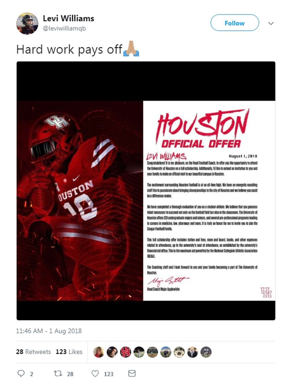 Here's a look at how some of the San Antonio recruits revealed their offers on Twitter. Levi Williams Smithson Valley H.S. quarterback