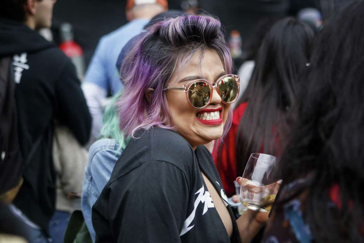 Lupe Fuentes laughs during the Thundercat performance on the Twin Peaks stage during the 10th annual Outside Lands Festival in Golden Gate Park in San Francisco on Saturday, August 12, 2017.