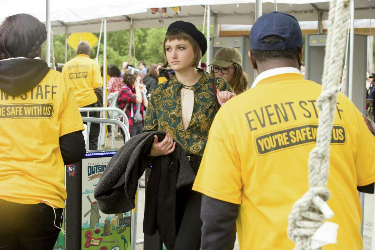 Festivalgoers enter after a security check for day two of the Outside Lands music festival at Golden Gate Park on Saturday, Aug. 12, 2017, in San Francisco, Calif.