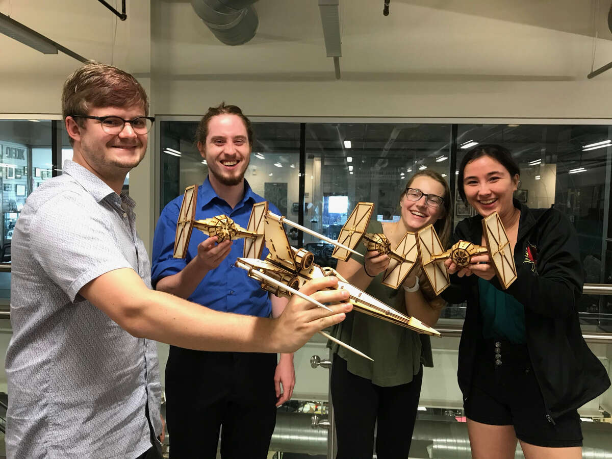 """Four 19-year-old George R. Brown School of Engineering students will be participating in the invention competitive reality TV series """"Make48."""" From left, Thomas Herring, Gentry Clark, Nathalie Phillips and Mikaela Juzswik. >>See the inventions other Houstonians have developed over the last few decades in the photos that follow..."""