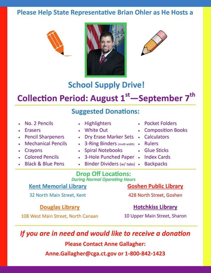 State Rep. Brian Ohler is collecting school supplies this month. Above, Ohler's flier encouraging people to donate. Photo: Contributed Photo /