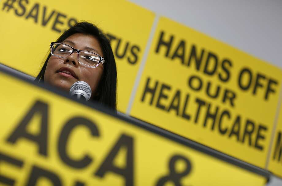 Brenda Guigui, a Las Vegas resident, speaks in support of the Affordable Care Act. Sen. Dean Heller's sliding positions to repeal the health law is providing plenty of fodder for Democrats. Photo: John Locher / Associated Press
