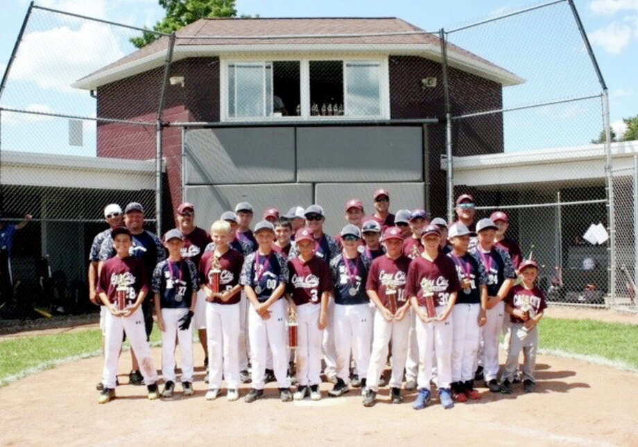 Members of the Bad Axe and Cass City 12U baseball teams pose after playing in the championship game of the Cass City Tournament, last weekend. Cass City won and Bad Axe was runner-up. (Submitted Photo)