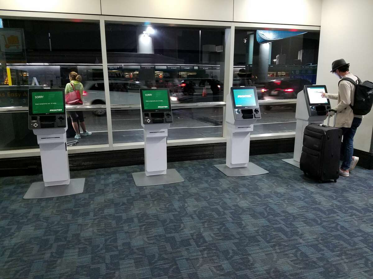 Check in kiosks for Frontier at SFO