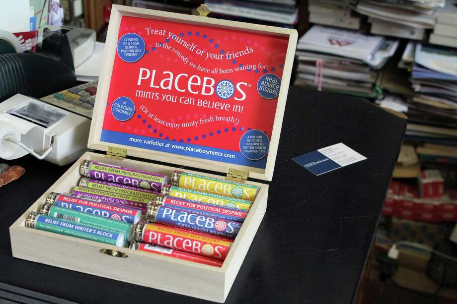 The new Placebo Mints being sold in Darien News Store. Photo: Lynandro Simmons / Hearst Connecticut Media
